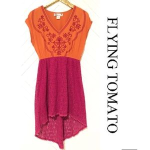 FLYING TOMATO HIGH LOW ORANGE FUSCHIA DRESS